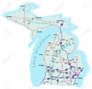 the route from detroit to houghton, michigan