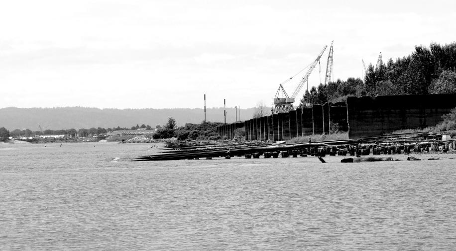 LSTs and Aircraft carries slid into the Columbia River from these slips