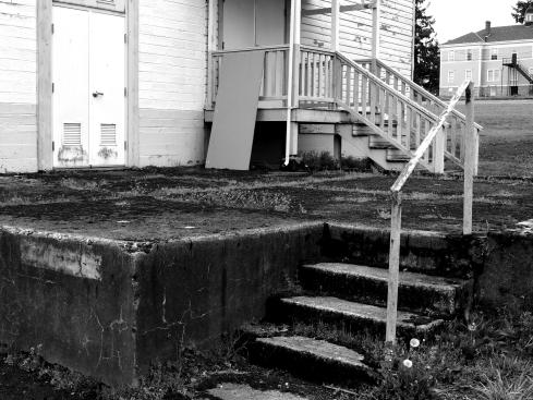 messy, moldy steps at the barracks