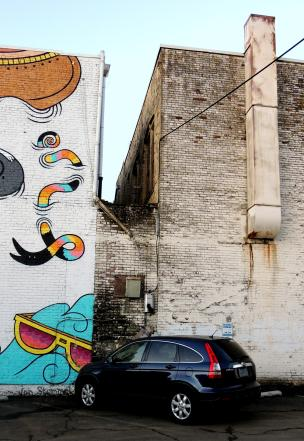 colorful mural and old school