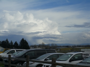 that cloud bank has engulfed Mt. Hood and is dumping, yes dumping, a gift of nature.