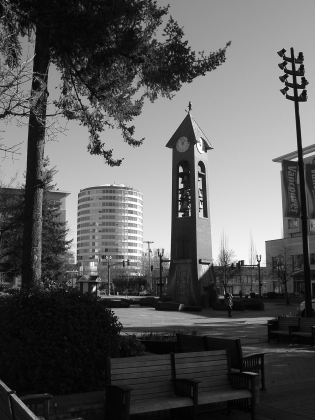 clock tower and bench, ester short park vancouver, washington. not so bad in black and white, eh?