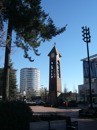 clock tower in ester short park downtown vancouver, washington