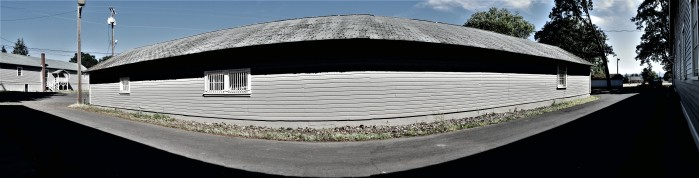 panoramic snap of a building near fort vancouver that would have taken multiple snaps to get every inch of clapboard.