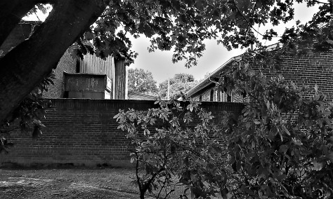 former horse stall wall in black and white