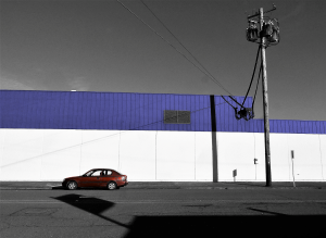 The lone car and shadows caught my eye.
